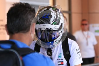 World © Octane Photographic Ltd. Formula 1 – Monaco GP - Paddock. Mercedes AMG Petronas Motorsport AMG F1 W09 EQ Power+ - Valtteri Bottas with ex-Chinese GP 100th GP Helmet. Monte-Carlo. Friday 25th May 2018.