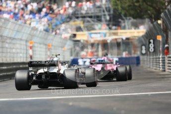 World © Octane Photographic Ltd. Formula 1 – Monaco GP - Practice 3. Haas F1 Team VF-18 – Kevin Magnussen and Sahara Force India VJM11 - Sergio Perez. Monte-Carlo. Saturday 26th May 2018.