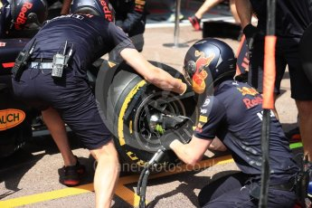 World © Octane Photographic Ltd. Formula 1 – Monaco GP - Practice 3. Aston Martin Red Bull Racing TAG Heuer RB14. Monte-Carlo. Saturday 26th May 2018.