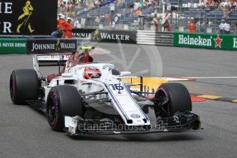 World © Octane Photographic Ltd. Formula 1 – Monaco GP - Practice 2. Alfa Romeo Sauber F1 Team C37 – Charles Leclerc. Monte-Carlo. Thursday 24th May 2018.