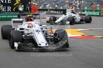 World © Octane Photographic Ltd. Formula 1 – Monaco GP - Practice 2. Alfa Romeo Sauber F1 Team C37 – Charles Leclerc and Marcus Ericsson. Monte-Carlo. Thursday 24th May 2018.