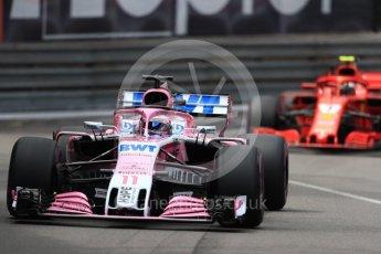 World © Octane Photographic Ltd. Formula 1 – Monaco GP - Practice 2. Sahara Force India VJM11 - Sergio Perez and Scuderia Ferrari SF71-H – Kimi Raikkonen. Monte-Carlo. Thursday 24th May 2018.