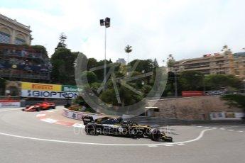 World © Octane Photographic Ltd. Formula 1 – Monaco GP - Practice 2. Renault Sport F1 Team RS18 – Nico Hulkenberg and Scuderia Ferrari SF71-H – Sebastian Vettel. Monte-Carlo. Thursday 24th May 2018.
