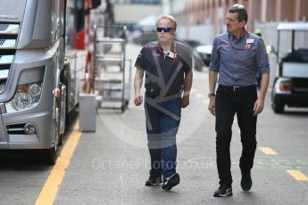 World © Octane Photographic Ltd. Formula 1 - Monaco GP - Paddock. Gene Haas  - Founder and Chairman of Haas F1 Team and Guenther Steiner  - Team Principal of Haas F1 Team. Monte-Carlo. Sunday 27th May 2018.