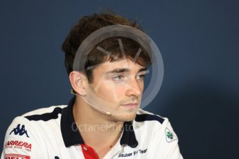 World © Octane Photographic Ltd. Formula 1 – Monaco GP –Drivers Press Conference. Haas F1 Team –Alfa Romeo Sauber F1 Team – Charles Leclerc. Monte-Carlo. Wednesday 23rd May 2018.