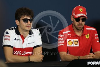 World © Octane Photographic Ltd. Formula 1 – Monaco GP –Drivers Press Conference. Haas F1 Team –Alfa Romeo Sauber F1 Team – Charles Leclerc and Scuderia Ferrari – Sebastian Vettel. Monte-Carlo. Wednesday 23rd May 2018.