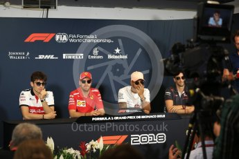 World © Octane Photographic Ltd. Formula 1 – Monaco GP –Drivers Press Conference. Alfa Romeo Sauber F1 Team – Charles Leclerc , Scuderia Ferrari – Sebastian Vettel, Mercedes AMG Petronas Motorsport - Lewis Hamilton, Haas F1 Team – Romain Grosjean. Monte-Carlo. Wednesday 23rd May 2018.