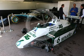 World © Octane Photographic Ltd. Formula 1 – Monaco GP - Setup. Kiek Rosberg FW07C and Nico Rosberg Mercedes F1 W08. Monte-Carlo. Wednesday 23rd May 2018.