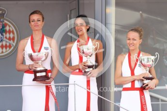 World © Octane Photographic Ltd. FIA Formula 2 (F2) – Monaco GP - Race 1 - Podium. Podium Girls. Monte Carlo. Friday 25th May 2018