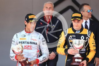 World © Octane Photographic Ltd. FIA Formula 2 (F2) – Monaco GP - Race 1 - Podium. Prema Powerteam - Sean Gelael and Russian Time - Artem Markelov. Monte Carlo. Friday 25th May 2018