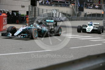 World © Octane Photographic Ltd. Formula 1 – Monaco GP - Rosberg Father and Son World Championship cars demonstration. Mercedes W08 - Nico Rosberg and Williams FW08 - Keke Rosberg. Monte-Carlo. Thursday 24th May 2018.