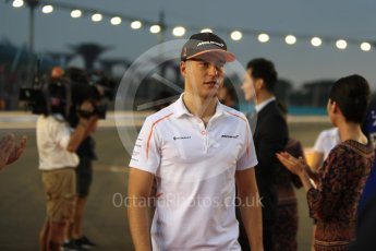 World © Octane Photographic Ltd. Formula 1 – Singapore GP - Drivers Parade. McLaren MCL33 – Stoffel Vandoorne. Marina Bay Street Circuit, Singapore. Sunday 16th September 2018.