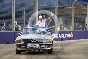 World © Octane Photographic Ltd. Formula 1 – Singapore GP - Drivers Parade. Racing Point Force India VJM11 - Esteban Ocon. Marina Bay Street Circuit, Singapore. Sunday 16th September 2018.