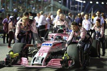 World © Octane Photographic Ltd. Formula 1 – Singapore GP - Grid. Racing Point Force India VJM11 - Sergio Perez. Marina Bay Street Circuit, Singapore. Sunday 16th September 2018.