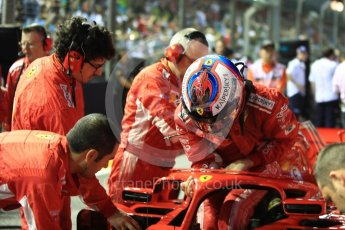 World © Octane Photographic Ltd. Formula 1 – Singapore GP - Grid. Scuderia Ferrari SF71-H – Kimi Raikkonen. Marina Bay Street Circuit, Singapore. Sunday 16th September 2018.