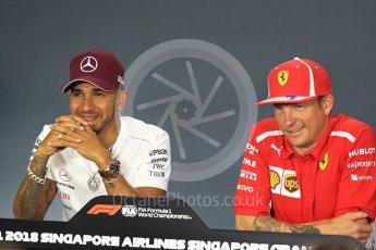 World © Octane Photographic Ltd. Formula 1 – Italian GP - FIA Drivers' Press Conference. Scuderia Ferrari - Kimi Raikkonen and Mercedes AMG Petronas Motorsport - Lewis Hamilton. Marina Bay Street Circuit, Singapore. Thursday 13th September 2018.