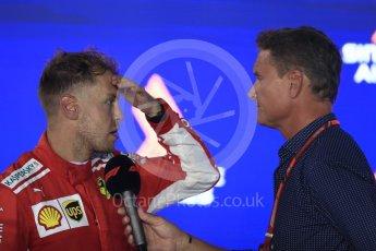 World © Octane Photographic Ltd. Formula 1 – Singapore GP - Race Podium. Scuderia Ferrari SF71-H – Sebastian Vettel and David Coulthard. Marina Bay Street Circuit, Singapore. Sunday 16th September 2018.
