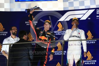 World © Octane Photographic Ltd. Formula 1 – Singapore GP – Race Podium. Mercedes AMG Petronas Motorsport AMG F1 W09 EQ Power+ - Lewis Hamilton and Aston Martin Red Bull Racing TAG Heuer RB14 – Max Verstappen. Marina Bay Street Circuit, Singapore. Sunday 16th September 2018.