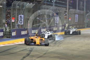World © Octane Photographic Ltd. Formula 1 – Singapore GP - Race. McLaren MCL33 – Stoffel Vandoorne. Marina Bay Street Circuit, Singapore. Sunday 16th September 2018.