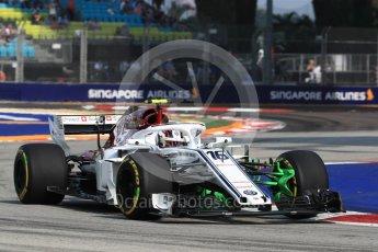 World © Octane Photographic Ltd. Formula 1 – Singapore GP - Practice 1. Alfa Romeo Sauber F1 Team C37 – Charles Leclerc. Marina Bay Street Circuit, Singapore. Friday 14th September 2018.