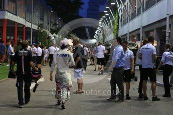 World © Octane Photographic Ltd. Formula 1 – Singapore GP - Practice 3. Racing Point Force India VJM11 - Sergio Perez. Marina Bay Street Circuit, Singapore. Saturday 15th September 2018.