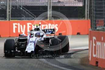 World © Octane Photographic Ltd. Formula 1 – Singapore GP - Qualifying. Williams Martini Racing FW41 – Sergey Sirotkin. Marina Bay Street Circuit, Singapore. Saturday 15th September 2018.