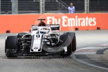 World © Octane Photographic Ltd. Formula 1 – Singapore GP - Qualifying. Alfa Romeo Sauber F1 Team C37 – Marcus Ericsson. Marina Bay Street Circuit, Singapore. Saturday 15th September 2018.