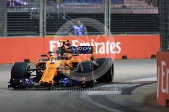 World © Octane Photographic Ltd. Formula 1 – Singapore GP - Qualifying. McLaren MCL33 – Stoffel Vandoorne. Marina Bay Street Circuit, Singapore. Saturday 15th September 2018.