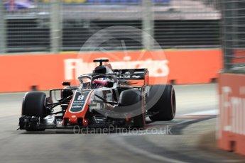 World © Octane Photographic Ltd. Formula 1 – Singapore GP - Qualifying. Haas F1 Team VF-18 – Romain Grosjean. Marina Bay Street Circuit, Singapore. Saturday 15th September 2018.