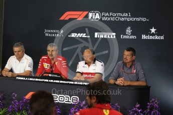 World © Octane Photographic Ltd. Formula 1 - Singapore GP - Friday FIA Team. Maurizio Arrivabene – Managing Director and Team Principal of Scuderia Ferrari, Gil De Ferran - Sporting Director of McLaren, Guenther Steiner  - Team Principal of Haas F1 Team and Frederic Vasseur – Team Principal and CEO of Sauber Motorsport AG. Marina Bay Street Circuit, Singapore. Friday 14th September 2018.