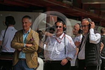 World © Octane Photographic Ltd. Formula 1 - Spanish GP - Saturday Practice 3. Sheikh Mohammed bin Essa Al Khalifa, CEO of the Bahrain Economic Development Board and Martin Whitmarsh. Circuit de Barcelona-Catalunya, Spain. Saturday 12th May 2018.