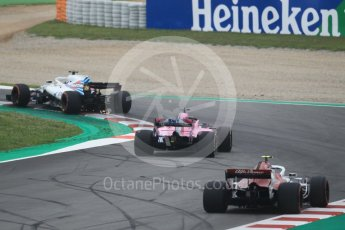 World © Octane Photographic Ltd. Formula 1 – Spanish GP - Saturday Qualifying. Sahara Force India VJM11 - Sergio Perez, Alfa Romeo Sauber F1 Team C37 – Charles Leclerc and Williams Martini Racing FW41 – Lance Stroll. Circuit de Barcelona-Catalunya, Spain. Saturday 12th May 2018.