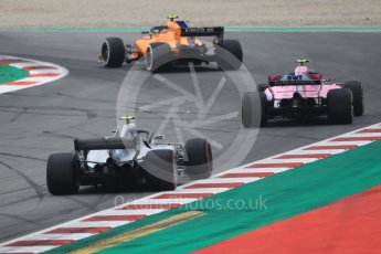 World © Octane Photographic Ltd. Formula 1 – Spanish GP - Saturday Qualifying. McLaren MCL33 – Stoffel Vandoorne, Sahara Force India VJM11 - Esteban Ocon and Mercedes AMG Petronas Motorsport AMG F1 W09 EQ Power+ - Valtteri Bottas. Circuit de Barcelona-Catalunya, Spain. Saturday 12th May 2018.