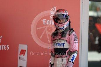 World © Octane Photographic Ltd. Formula 1 – Spanish GP - Sunday Parc Ferme. Sahara Force India VJM11 - Sergio Perez. Circuit de Barcelona-Catalunya, Spain. Sunday 13th May 2018.