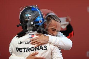 World © Octane Photographic Ltd. Formula 1 – Spanish GP - Sunday Parc Ferme. Mercedes AMG Petronas Motorsport AMG F1 W09 EQ Power+ - Lewis Hamilton and Valtteri Bottas. Circuit de Barcelona-Catalunya, Spain. Sunday 13th May 2018.