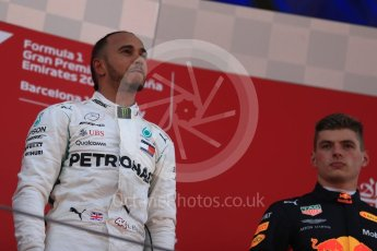 World © Octane Photographic Ltd. Formula 1 – Spanish GP - Sunday Podium. Mercedes AMG Petronas Motorsport AMG F1 W09 EQ Power+ - Lewis Hamilton (1st) and Aston Martin Red Bull Racing TAG Heuer RB14 – Max Verstappen (3rd). Circuit de Barcelona-Catalunya, Spain. Sunday 13th May 2018.