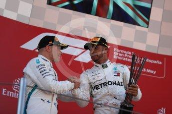 World © Octane Photographic Ltd. Formula 1 – Spanish GP - Sunday Podium. Mercedes AMG Petronas Motorsport AMG F1 W09 EQ Power+ - Valtteri Bottas (2nd) with Peter Bonnington, Race Engineer. Circuit de Barcelona-Catalunya, Spain. Sunday 13th May 2018.