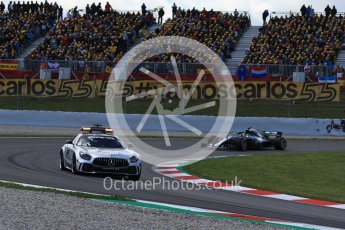 World © Octane Photographic Ltd. Formula 1 – Spanish GP - Race. Mercedes AMG Petronas Motorsport AMG F1 W09 EQ Power+ - Lewis Hamilton leads under safety car. Circuit de Barcelona-Catalunya, Spain. Sunday 13th May 2018.