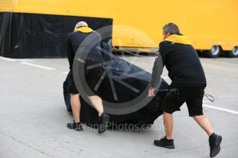 World © Octane Photographic Ltd. Formula 1 – Spanish GP - Friday Setup. Renault Sport F1 Team RS18 – new gearbox arrives in the paddock. Circuit de Barcelona-Catalunya, Spain. Friday 11th May 2018.