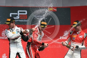 World © Octane Photographic Ltd. GP3 – Spanish GP – Race 1. ART Grand Prix - Nikita Mazepin, Anthoine Hubert and Callum Illot. Circuit de Barcelona-Catalunya, Spain. Saturday 12th May 2018.