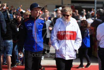 World © Octane Photographic Ltd. Formula 1 – United States GP - Drivers Parade. Scuderia Toro Rosso STR13 – Brendon Hartley and Alfa Romeo Sauber F1 Team C37 – Marcus Ericsson. Circuit of the Americas (COTA), USA. Sunday 21st October 2018.