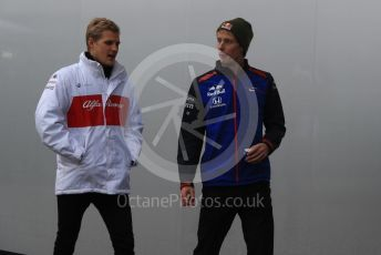 World © Octane Photographic Ltd. Formula 1 – United States GP - Paddock. Scuderia Toro Rosso STR13 – Brendon Hartley and Alfa Romeo Sauber F1 Team C37 – Marcus Ericsson. Circuit of the Americas (COTA), USA. Friday 19th October 2018.