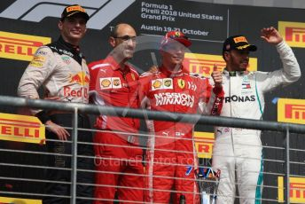 World © Octane Photographic Ltd. Formula 1 – United States GP - Podium. Scuderia Ferrari SF71-H – Kimi Raikkonen followed by Aston Martin Red Bull Racing TAG Heuer RB14 – Max Verstappen and Mercedes AMG Petronas Motorsport AMG F1 W09 EQ Power+ - Lewis Hamilton. Circuit of the Americas (COTA), USA. Sunday 21st October 2018.