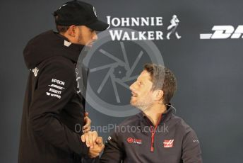 World © Octane Photographic Ltd. Formula 1 – United States GP - FIA Drivers' Press Conference. Mercedes AMG Petronas Motorsport - Lewis Hamilton shakes hands with Haas F1 Team – Romain Grosjean. Circuit of the Americas (COTA), USA. Thursday 18th October 2018.