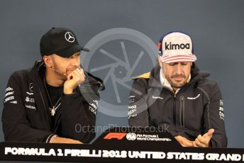 World © Octane Photographic Ltd. Formula 1 – United States GP - FIA Drivers' Press Conference. Mercedes AMG Petronas Motorsport - Lewis Hamilton and McLaren – Fernando Alonso. Circuit of the Americas (COTA), USA. Thursday 18th October 2018.
