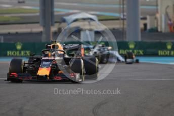 World © Octane Photographic Ltd. Formula 1 – Abu Dhabi GP - Practice 2. Aston Martin Red Bull Racing RB15 – Max Verstappen and Mercedes AMG Petronas Motorsport AMG F1 W10 EQ Power+ - Valtteri Bottas. Yas Marina Circuit, Abu Dhabi, UAE. Friday 29th November 2019.