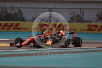 World © Octane Photographic Ltd. Formula 1 – Abu Dhabi GP - Practice 2. Scuderia Ferrari SF90 – Sebastian Vettel and Aston Martin Red Bull Racing RB15 – Max Verstappen. . Yas Marina Circuit, Abu Dhabi, UAE. Friday 29th November 2019.