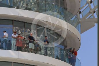 World © Octane Photographic Ltd. Formula 1 – Abu Dhabi GP - Practice 3. Spectators on a balcony of the W Hotel. Yas Marina Circuit, Abu Dhabi, UAE. Saturday 30th November 2019.