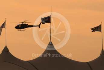 World © Octane Photographic Ltd. Formula 1 – Abu Dhabi GP - Qualifying. Helicopter at Sunset. Yas Marina Circuit, Abu Dhabi, UAE. Saturday 30th November 2019.