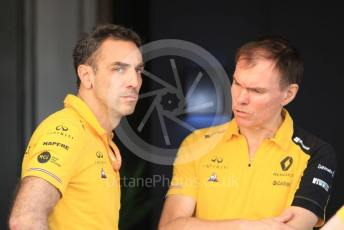 World © Octane Photographic Ltd. Formula 1 - Abu Dhabi GP - Paddock. Cyril Abiteboul - Managing Director and Remi Taffin– Engine Technical Director of Renault Sport Racing Formula 1 Team. Yas Marina Circuit, Abu Dhabi, UAE. Sunday 1st December 2019.
